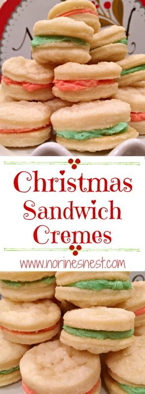 Christmas Sandwich Cremes are a Must Have on the Holiday Cookie Tray. Flaky Pastry filled with cream filling. Delicious.