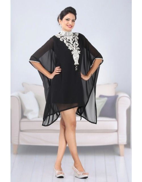 Dubai Beach Kaftan Tunic - (Black With Inner Dress Of Satin Fabric)