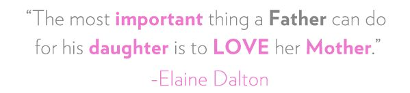 The most important thing a Father can do for his daughter is to LOVE their Mother.  - Elaine Dalton