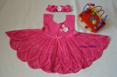 Click to view pattern for - Crochet pink dress for girl