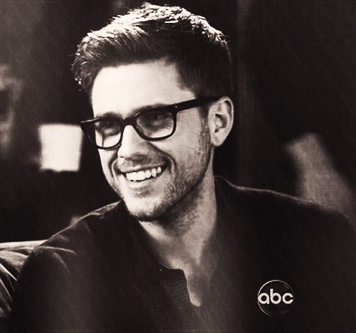 When he wore these adorable glasses and also had all this scruff. | The 42 Most Seductively Charming Aaron Tveit Moments Of AllTime