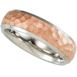 Titanium Hammered Band with 14K Rose Gold Immerse Plate