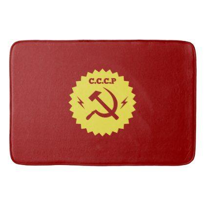 CCCP communist Badge Design Bath Mat - #customizable create your own personalize diy