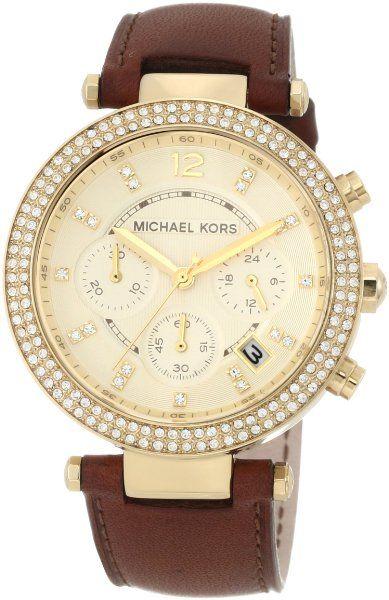 Michael Kors Chronograph Gold Dial Crystal set Ladies Watch MK2249