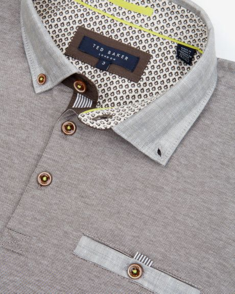 Linen trim polo - Natural | Tops & T-shirts | Ted Baker