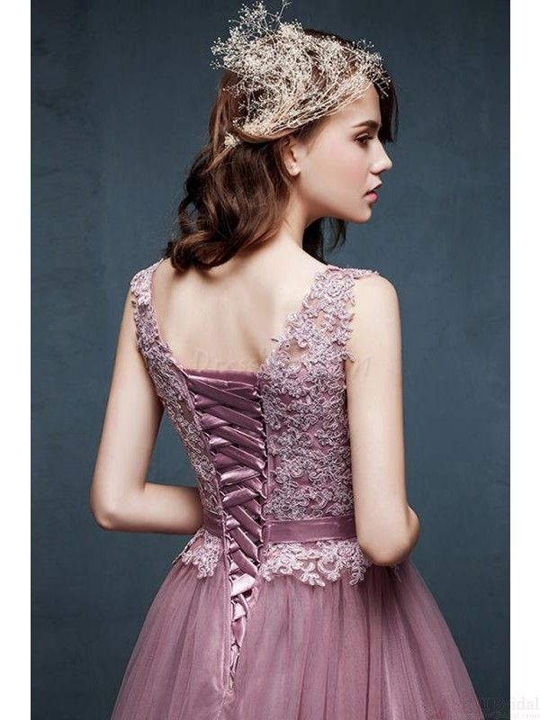 A-line V-Neck Charming prom dresses on sale #promdresses