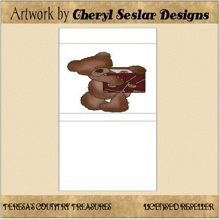 Fixins Bear Match Book Printables from Cheryl Seslar Designs includes country primitive match books with a cute bear.  This matchbook is 530 x 1580 pixels.  Click profile link to