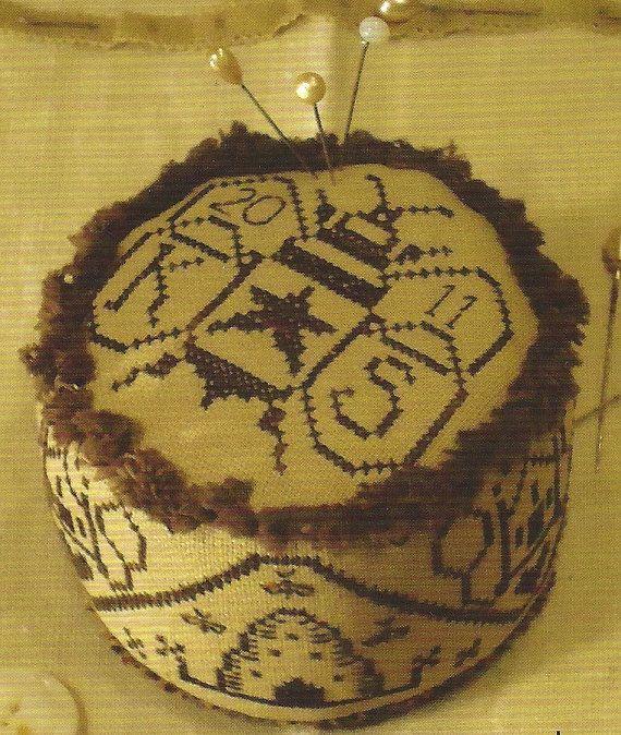 SALE - Primitive Folk Art Cross Stitch/Embroidery Pattern:  PIN SKEP -  Pinkeep on Etsy, $4.00