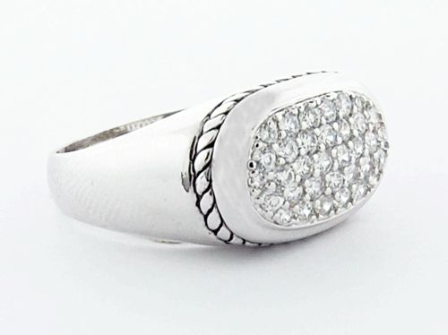 Pave Cable Sterling Silver Ring