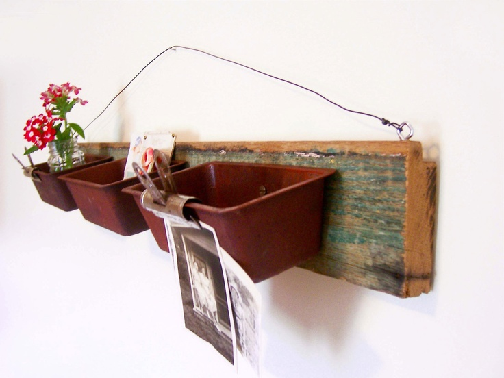 Upcycled Wall Organizer With Rusty Loaf Pans. $19.00, via Etsy.