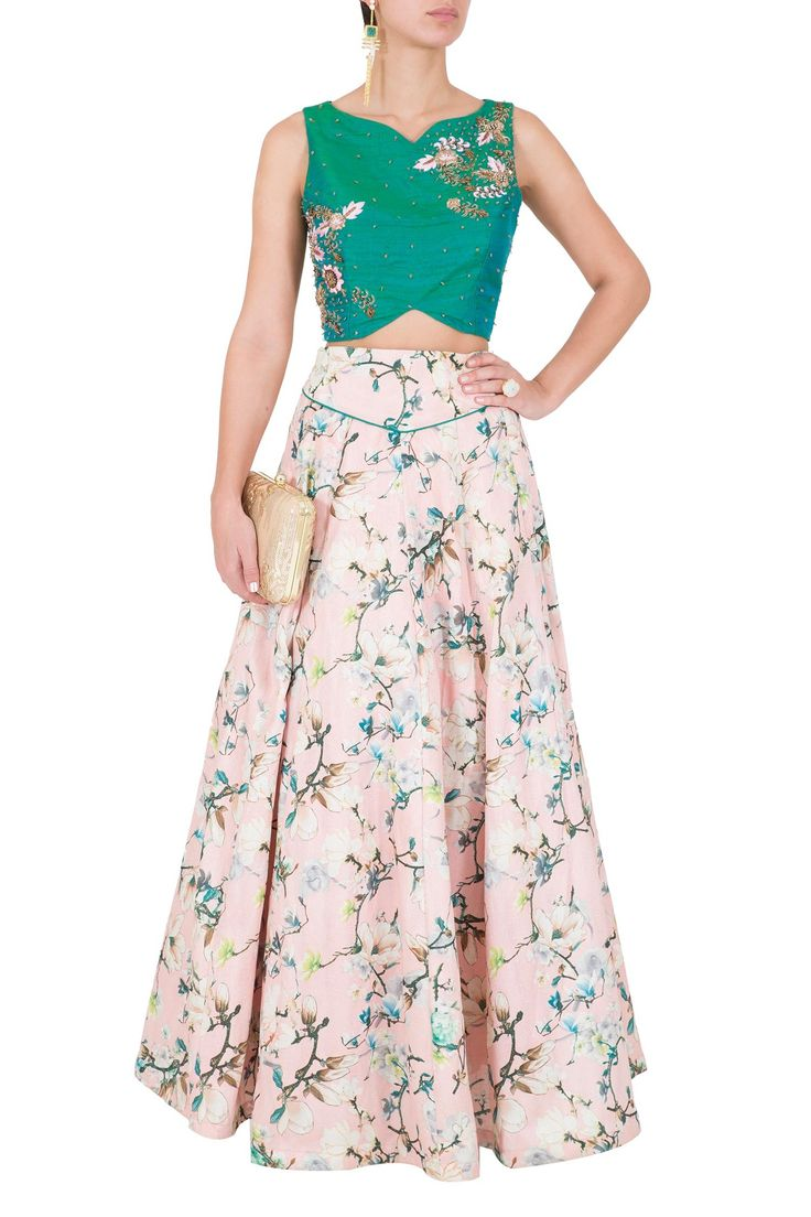 Silk Top With Floral Skirt by Rianta's. Shop now: http://www.onceuponatrunk.com/designers/riyanta-s #green #pink #floral #croptop #skirt #shopnow #riantas #fashion #onceuponatrunk #happyshopping