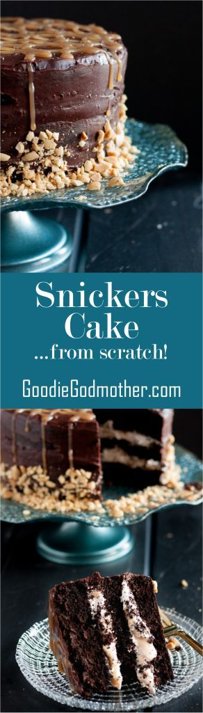 Rich chocolate cake, layers of homemade nougat, peanuts, and caramel, all covered with a rich ganache - candy bar dreams come to life! Recipe on GoodieGodmother.com (Homemade Chocolate Bars)