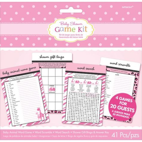 pink safari baby shower game kit for 20 party city maddie