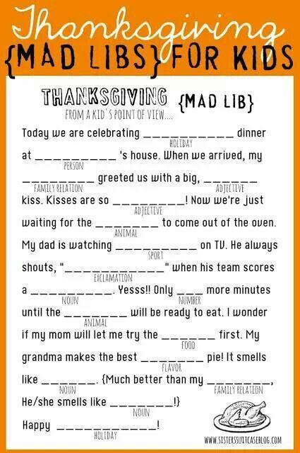 Thanksgiving Ad Libs