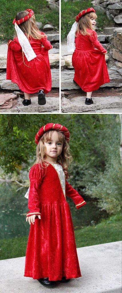 little girl's red homemade DIY princess costume