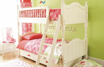 Like this idea of painting bunkbeds white to lighten the room and adding drawers underneath a ladder and railing would add to the safety of the bed