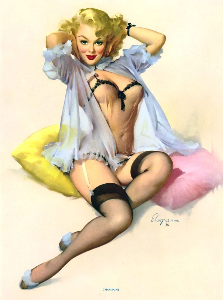 GIL ELVGREN PIN-UP PRINT BROWN & BIGELOW MINT THE LOVELY CHARMAINE CHEESECAKE NR