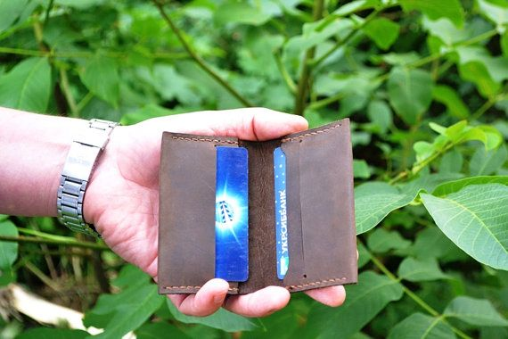 Groomsmen Wallet Credit card keeper Mens thin leather wallet Brown leather bi-fold wallet Cash pocket wallet Father day gift