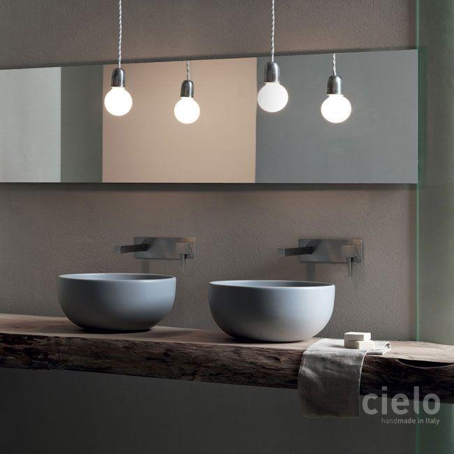 On Top Bowl Diameter 45 Colored Basalto Shui Basin Bathroom Ceramica Cielo