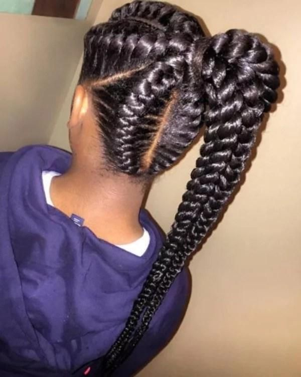 Top 10 African Braiding Hairstyles For Ladies Photos Hair Styles Braided Ponytail Hairstyles Goddess Braids