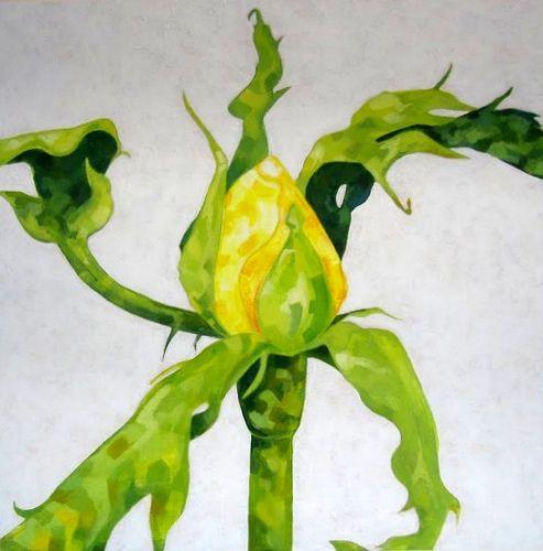 Marjut Siro, Keltainen 2005, akryyli vanerille 50 cm x 50 cm
