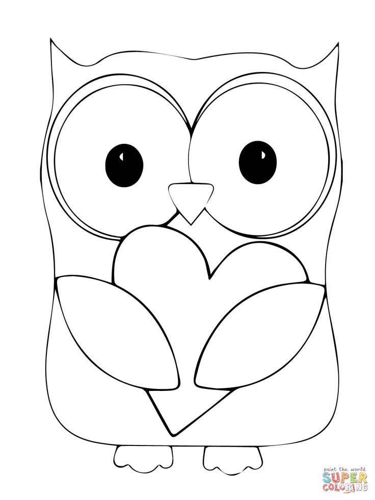 Valentine Day Owl Hugging a Heart | Super Coloring