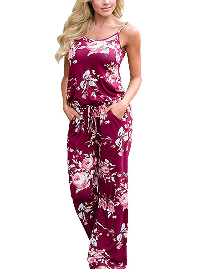 53527517616c Womens Summer Comfy Floral Printed Jumpsuit Halter Sleeveless Wide Leg  Lounge Long Pants Beach Strap Jumpsuits Rompers (M