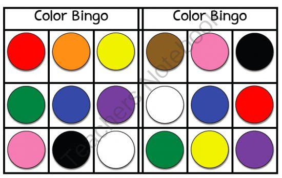 Color Bingo - FREEBIE! from Miss Jill on TeachersNotebook.com (3 pages)  - Color Bingo - FREEBIE! - Miss Jill Colors - red, orange, yellow, green, blue, purple, pink, brown, black, white Includes 6 bingo cards