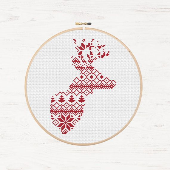Nordic Cross Stitch Pattern Christmas Reindeer Pattern Printable Deer  Instant Download PDF Scandinavian Modern Cross Stitch