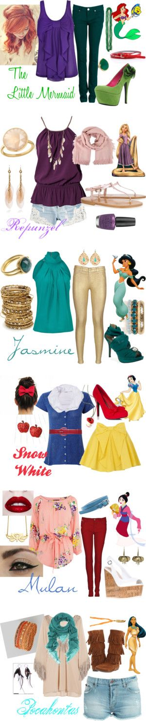 """Disney Princess Fashion"" by roxycn on Polyvore. I'm in LOVE with the Rapunzel and Mulan look!!!!!!!!!"