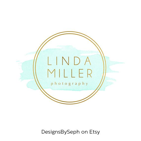 Pre-made Logo Design & Photography Watermark - Watercolor logo - Gold Logo - Circle Watermark Design - Photography Logo - Circle Logo 763