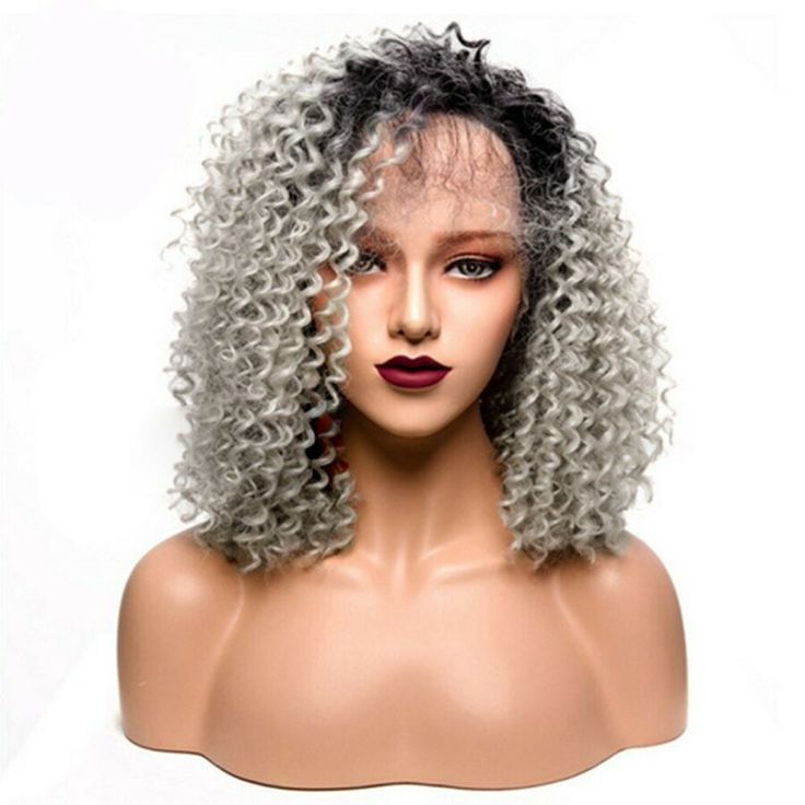 20 Inches Black Background White Gradient Curly Lace Front