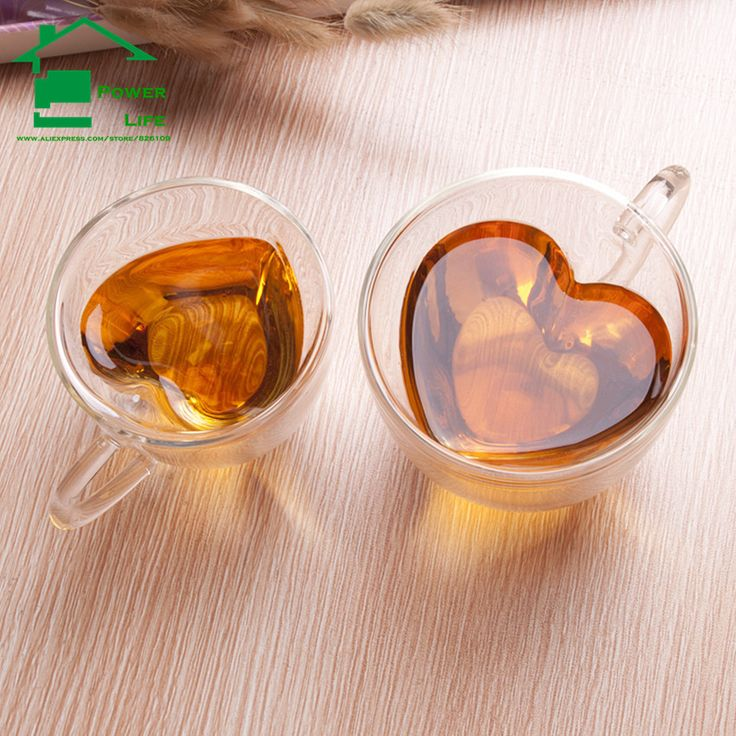 Heart Shape Glass Double Wall coffee mug tea cup ceramic travel tazas cafe tumbler beer cups and mugs unusual birthday gifts-in Mugs from Home & Garden on Aliexpress.com | Alibaba Group