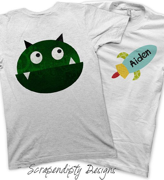 Monster Party Pack Iron on Transfer - Personalized Alien Shirts / Monster Birthday Party Favors / Outer Space Birthday Party / Boys Clothing  by ScrapendipityDesigns, $25.00