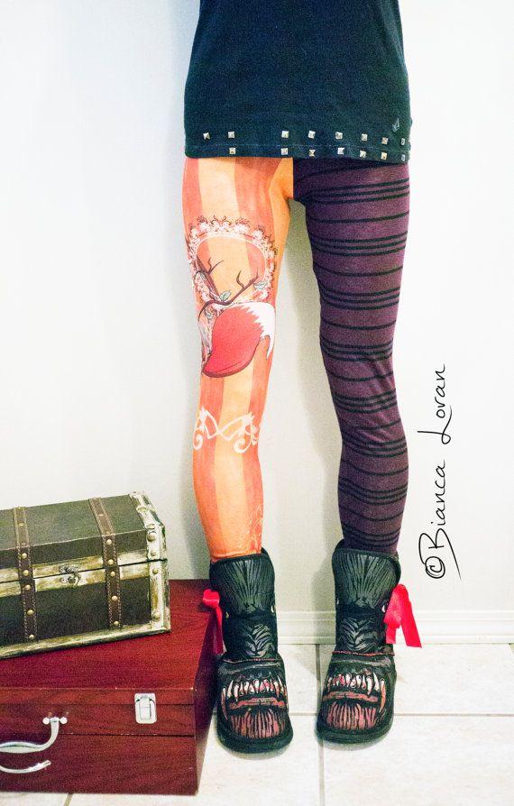 Fox Girl Printed LEGGINGS  steampunk by biancaloran on Etsy