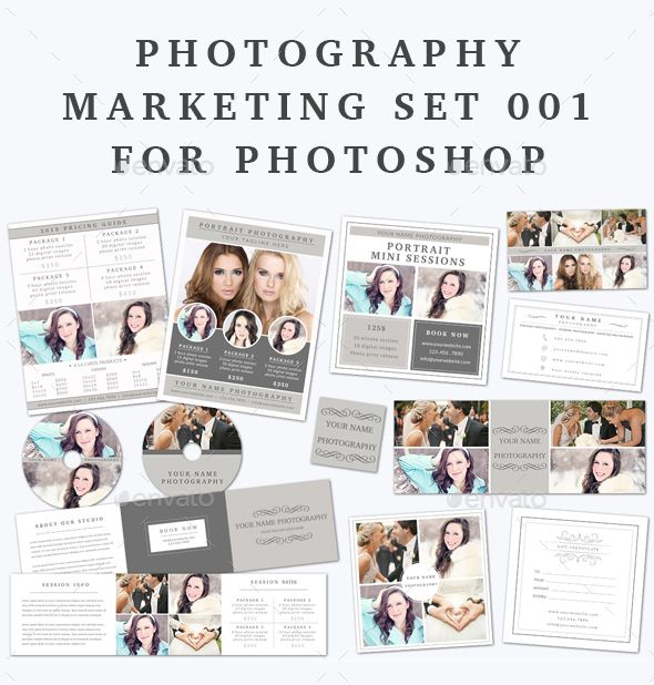 Photography Marketing Set - Print Templates This Photography Marketing Set is fully editable in Adobe Photoshop so you can edit the text, change colors to your own liking and add your own photos. The templates are print ready 300 dpi CMYK with bleeds.