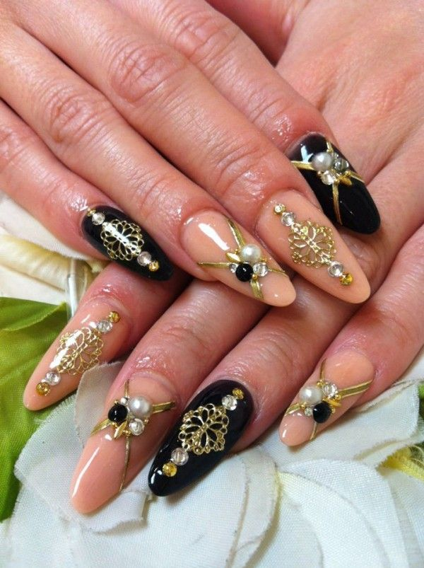 acrylic nail designs with rhinestones black and beige acrylic nails with gold rococo style stickers