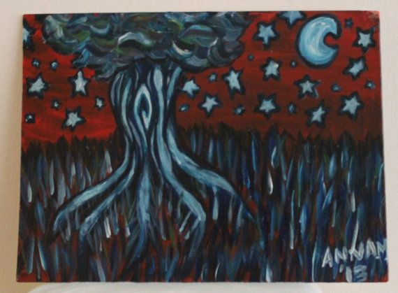 Hey, I found this really awesome Etsy listing at http://www.etsy.com/listing/164848984/blue-moon-tree-painting-9-by-12-flat
