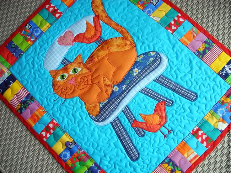 Купить здравствуйте, я ваша Котя !!!   лоскутный коврик -- лоскутная картина - лоскутный коврик