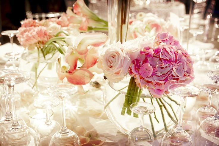 Premios de Moda Telva 2013 - Centro de flores con hortensias rosas y calas en tonos rosas | Bourguignon Floristas