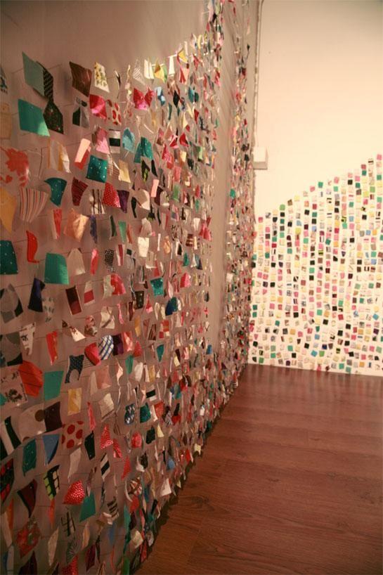 scrap fabric: Wall Art, Ideas For, Celebrity, Crafts Ideas, Fabrics, Domestic Construction Com, Art Installations, Arsti Fartsi, Wall Ideas
