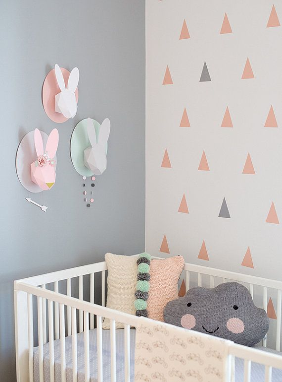 Self adhesive vinyl temporary removable wallpaper, wall decal - Baby pink Triangles - 004