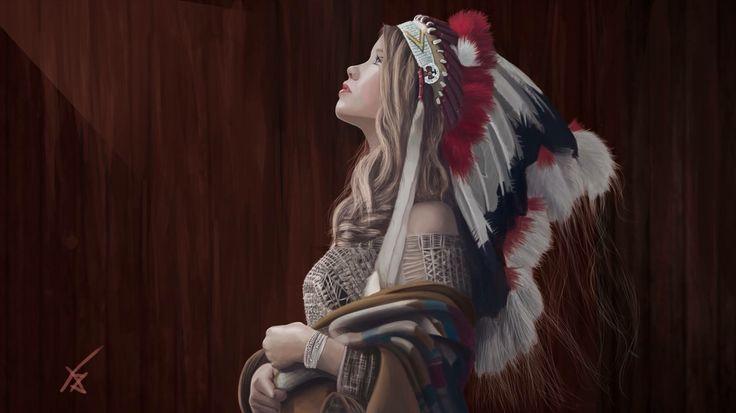 Digital  Painting - amérindienne || adilas