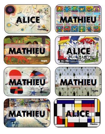 étiquettes noms élèves avec oeuvre d'art