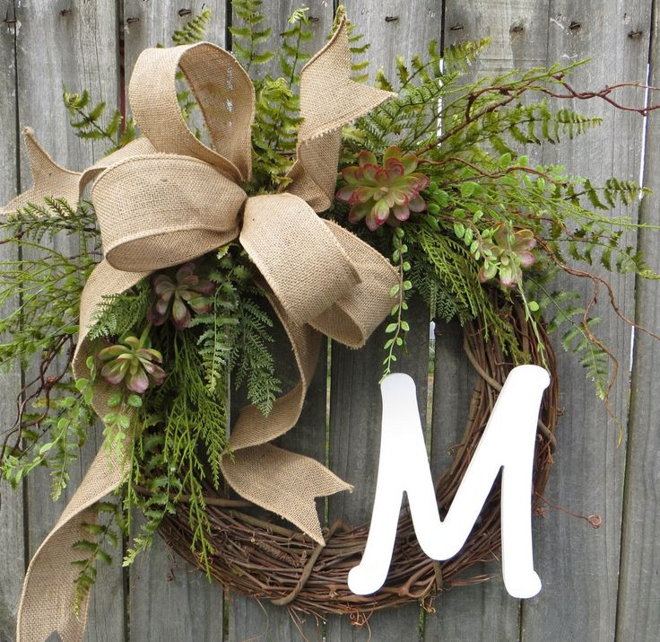 Succulent Wreath - Wreath for All Year Round - Monogram Wreath,  Everyday Burlap Wreath with Letter, Door Wreath, Front Door Wreath by HornsHandmade on Etsy https://www.etsy.com/listing/218525736/succulent-wreath-wreath-for-all-year