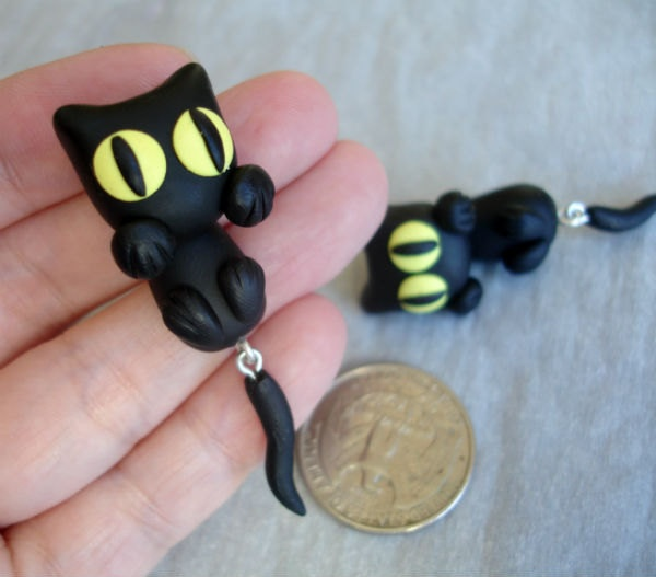GUO GUO'S- Handmade polymer clay Black Cats Ear Stud, Made to order. $18.80, via Etsy.