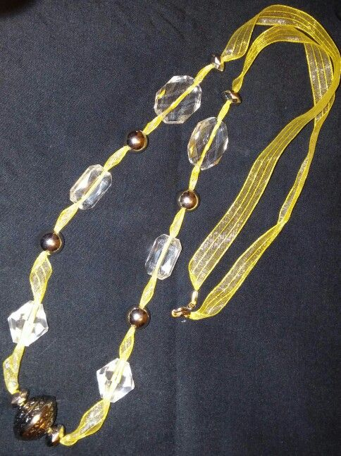 Yellow sheer ribbon with acrylic beads