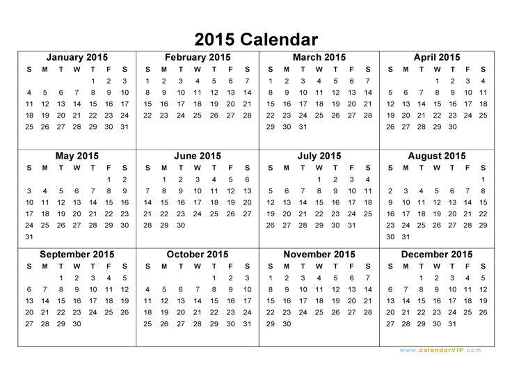 2015 Calendars 2015 Calendar Blank Printable Calendar