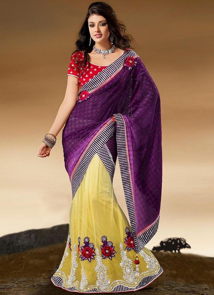 Find Stylish Lehenga sarees online at shadesandyou.com  #DressLehenga #BridalLehengaCholi #LehengaStyleSaree #FloorLengthGowns #LehengaSarees