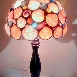 Table Lamp Tangerine Seashells Stained Glass Lamp - Beach House Lighting - Coast - Are these seashells shells for real? Yes, they are natura...